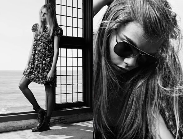 Cara Delevingne pose pour Saint Laurent Paris.