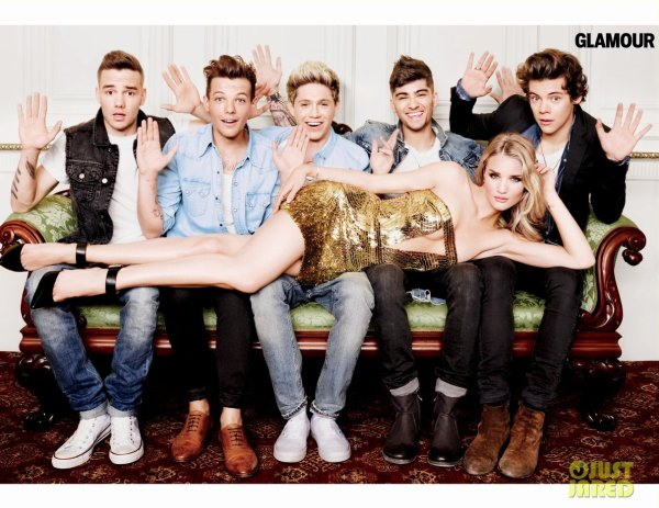 Rosie Huntington Whiteley pose avec les One Direction pour Glamour.