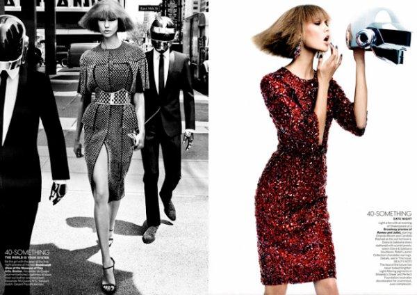 Karlie Kloss et les Daft Punk posent pour Vogue.