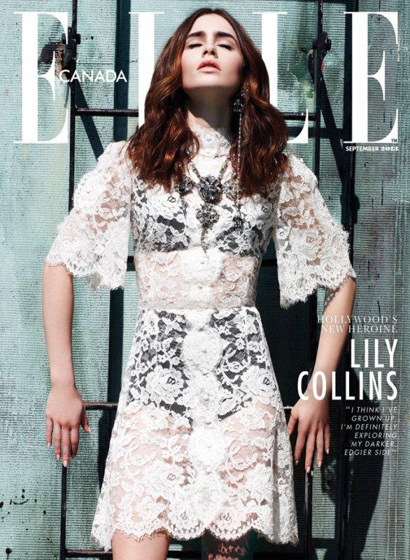 Lily Collins pose pour ELLE.