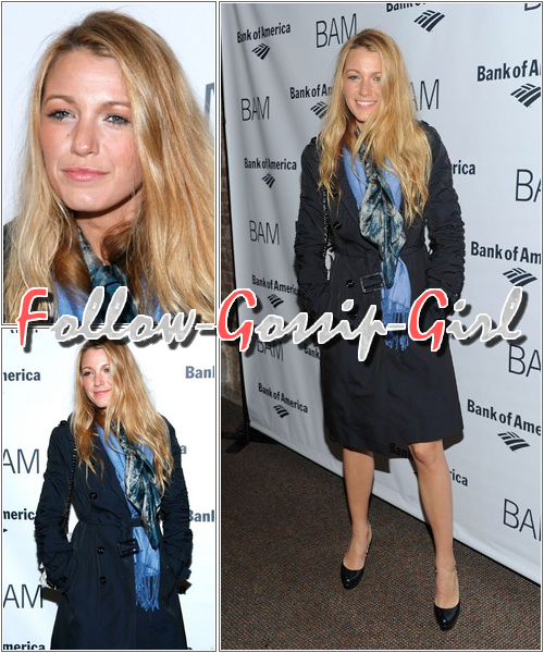 """March 10th – The 2011 BAM Theater Gala Trench & foulard plutôt TOP mais une """"coiffure"""" vraiment FLOP ..."""