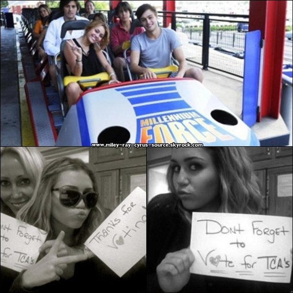 """Miley a été aperçue dans un parc d'attraction de l'Ohio, le """"Cedar Point"""".+ Miley a posté 2 photos d'elle sur son site officiel nous incitant à voter pour elle aux Teen Choice Awards.+ Miley sera en fin de compte absente au TCA... Déçu ?"""