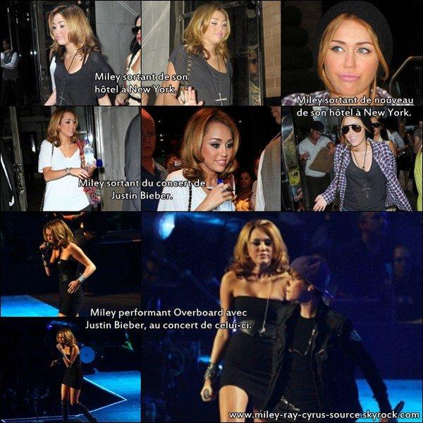 31/08/2010 : Miley a été vue sortant de son hôtel à New York, deux fois dans la même journée, avec deux tenues différentes. Elle était aussi présente au concert de Justin Bieber, où elle a interprété Overboard, et enfin, les paparazzis l'attendaient à la fin du concert, et l'ont photographiée.