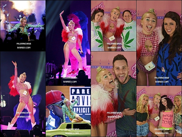 07/08/2014 : Miley poursuit son Bangerz Tour : elle a donné un concert à Nashville, au Tennesse.