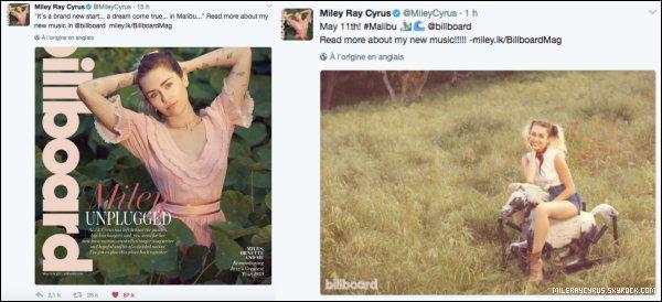 Miley is back ! La belle est en couverture du magazine Billboard pour l'annonce d'un nouveau single.Pour l'occasion, un nouveau photoshoot a été réalisé par le photographe Brian Bowen. Je trouve que Miley est absolument sublime sur ces photos, le choix des tenues, du maquillage et de la coiffure sont parfaits à mes yeux. Miley est radieuse, et prendre des photos dans un cadre naturel rend vraiment bien. La couverture du magazine est, à mon avis, l'une des plus réussie de sa carrière. Et toi, qu'en penses-tu ?