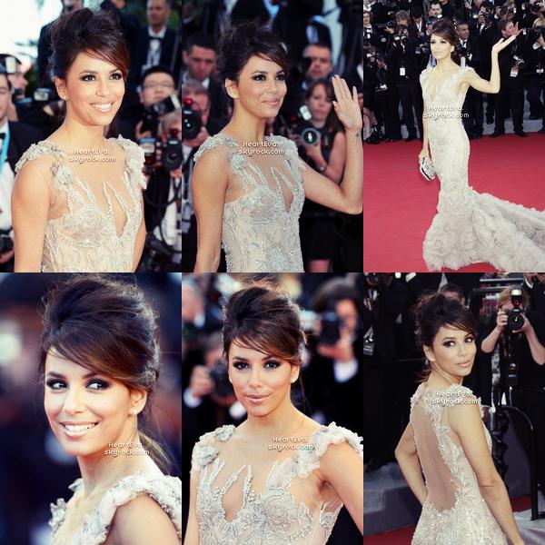 """FLASCHBACK » C'est en ce 16 Mai 2012 que débute le 65e Festival de Cannes et présente en tant qu'ambassadrice pour la marque """"L'Oréal Paris"""", Eva Longoria a monté les marches lors de la première du film """"Moorise Kingdom"""". COTE LOOK » Eva est splendide, magnifique robe """"Marchesa"""", super coiffure et make-up_ TOP, BOF , FLOP ??"""