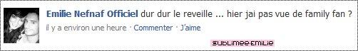 +Sublimee-Emilie ~ Emilie Nefnaf ~ Ton c'est statut Facebook d'Emilie ici.