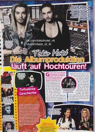 » Tokio Hotel La production de l'album est en plein essor!