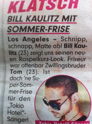 » Bill Kaulitz et sa coiffure de l'été