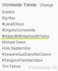 » Twitter - #HappyBirthdayKaulitzTwins dans les tendances mondiales