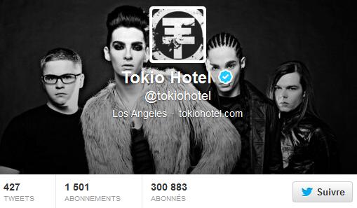 » Twitter - Tokio Hotel : 300 883 abonnés