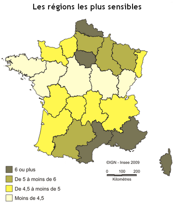 Les régions les plus sensibles de France