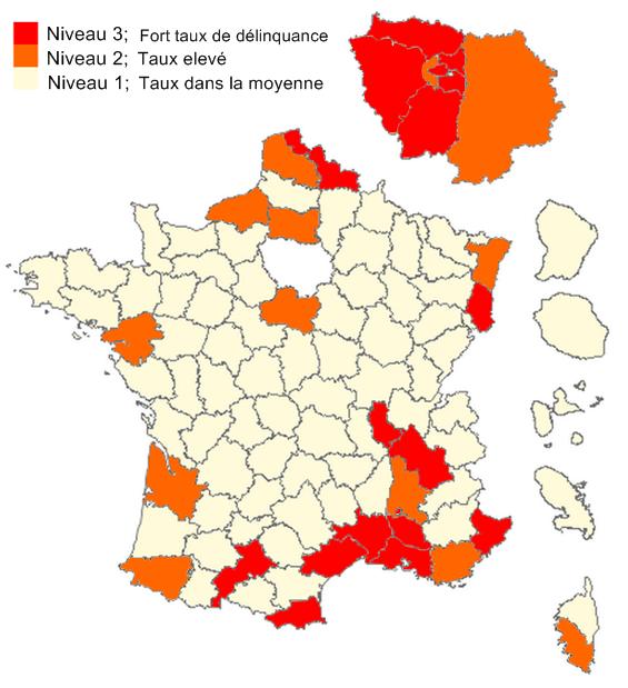 Les départements les plus sensibles de France