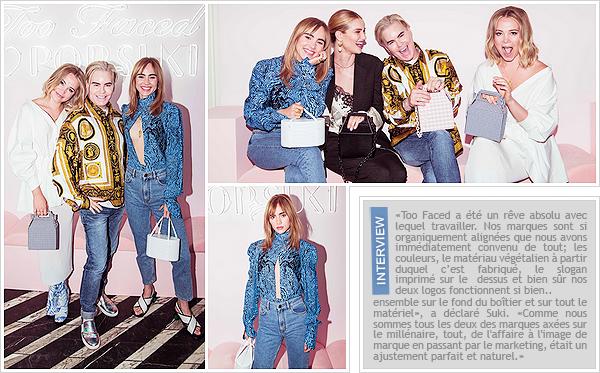 ''17/07/2018'' ─ Suki était présente lors du launch  «Too Faced's» en partenariat avec «Pop and Suki»  à West Hollywood.L'événement qui avait lieu au restaurant  Cecconi était malheureusement privée et donc peu de photos en sont sorties. J'aime beaucoup la tenue.