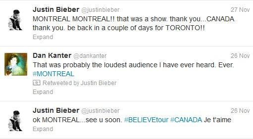 Concert de Justin, 26/11/12
