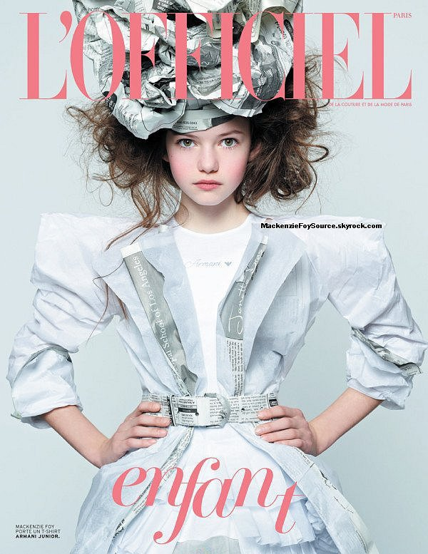 """Mackenzie fait la couverture du magazine français 'L'officielle enfant"""" Magnifique !Ces photos ont été prises par BRUBAKER DANI ."""