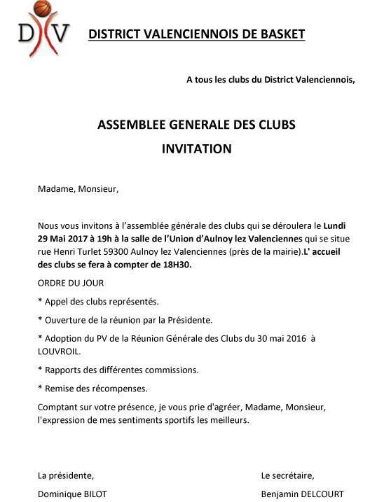 ASSEMBLÉE GÉNÉRALE DES CLUBS  2017 - DISTRICT VALENCIENNOIS