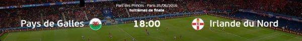 Euro 2016 : PAYS DE GALLES - IRLANDE DU NORD (25.06.16)