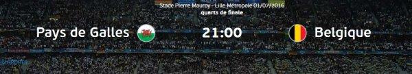 Euro 2016 : PAYS DE GALLES - BELGIQUE (01.07.16)