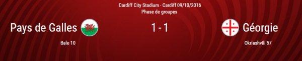 Qualification Coupe du Monde 2018 : Pays de Galles - Georgie (09.10.16)