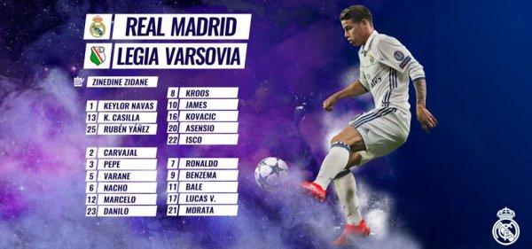 Les joueurs convoqués pour affronter le Legia Varsovia (16.10.16)