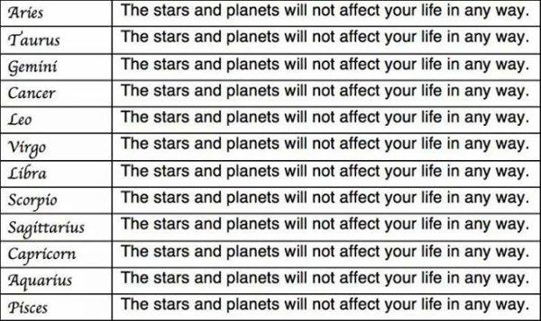 Je sais que l'astrologie n'est pas une religion, c'est d'ailleurs pour ça que je ne me ferai pas traiter de raciste (ni d'astrologophobe) pour avoir publié ceci.