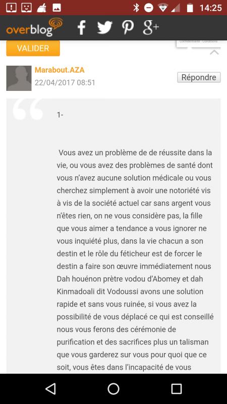 Marabout AZA, marabout - voyant en tous genres et surtout escroc sur internet