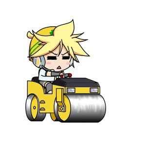 Len sur son rouleau compresseur