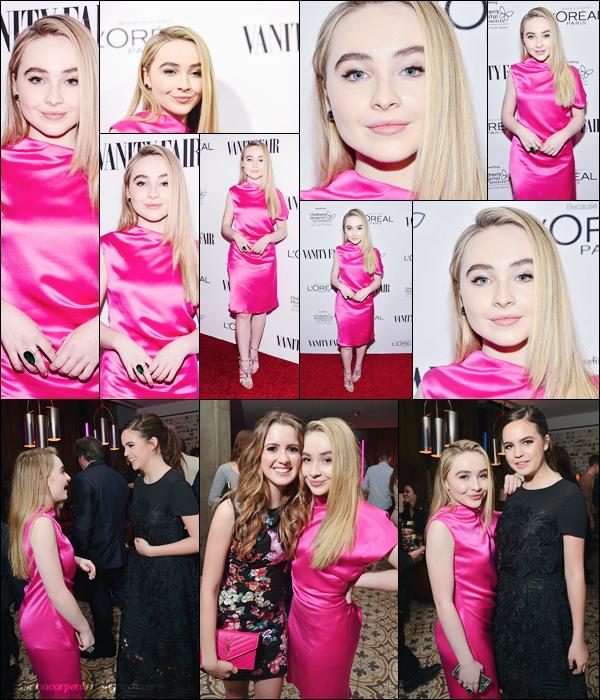 26.02.2016 - Sabrina A. Carpenter été présente à l'événement«Vanity Fair, L'Oreal Paris» à West Holliwood. (+) Je trouve Sabrina toute mignonne avec sa robe rose c'est un top, de plus je vous est mis des photos de Sabrina dans le Photobooth