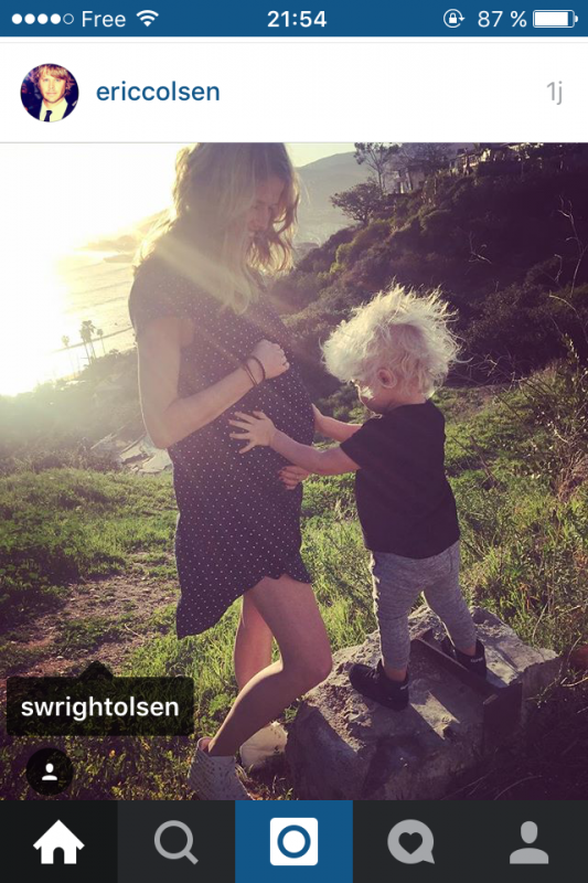 Sarah Olsen enceinte de son 2ème enfant