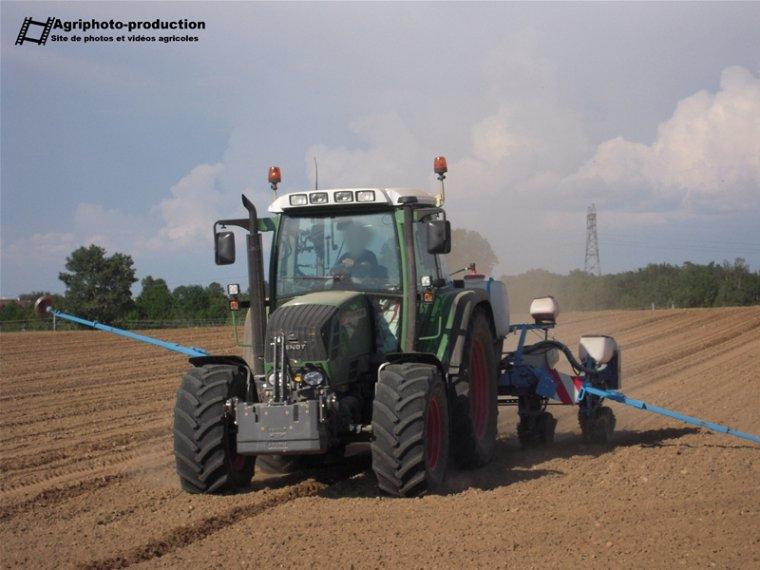 Semis de maïs semences avec un Fendt 312 Vario TMS