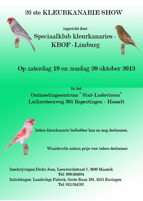 26ste Kleurkanarieshow K.B.O.F.KleurkanarieSpeciaalclub Limburg 19 en 20 oktober