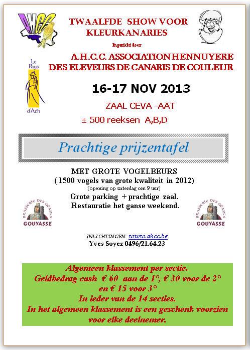 12de Internationale Show voor Kleurkanaries A.H.C.C. te Aat 16 en 17 november