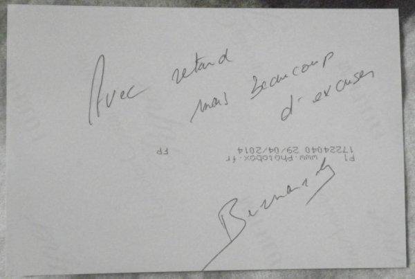 Autographe Bernard Yerlès