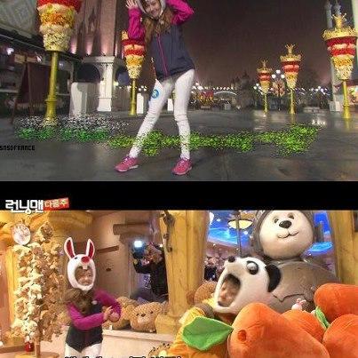 Jessica sur le tournage de Running Man