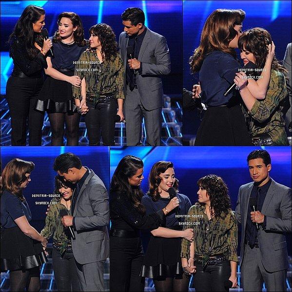 - 15.11.2012 Demi Lovato était présente sur le plateau du cinquième Live show de X-Factor Jennel Garcia  candidate de Demi & Lyrics 145  groupe de Simon Cowell ont était éliminées-Taylor Swift a chantée son nouveaux Hit -