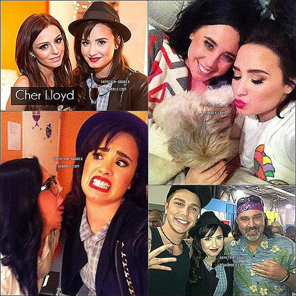 - 21.11.2012 Demi était présente pour le septième live show de X-Factor, LA  Arin Ray  & Beatrice Miller ont été éliminée. Cher Lloyd a performait. Demi a fêtait Thanksgiving avec son amie Marissa Callahan  -