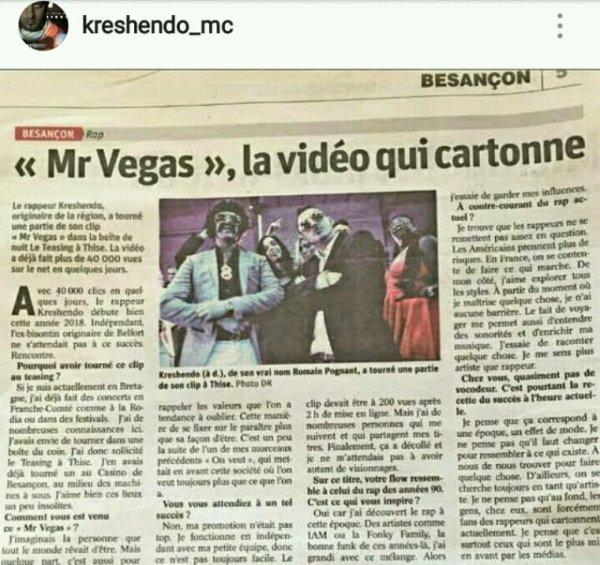 Mr vegas dans le journal