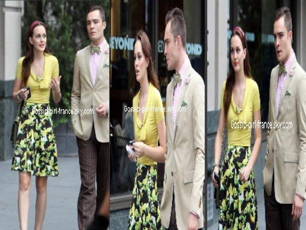 Leighton Meester avec Ed Westwick sur le tournage de Gossip Girl saison 6