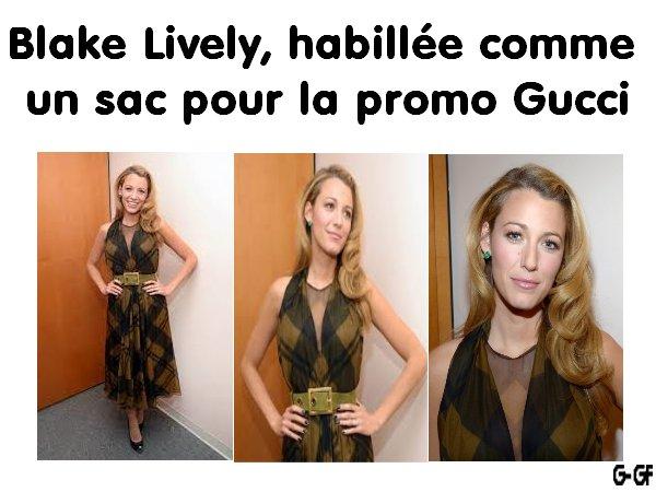PHOTOS - Blake Lively, habillée comme un sac pour la promo Gucci