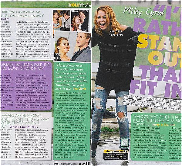 """Découvre plusieurs Scans du magazine """"Dolly"""" où Miley apparaît.     Tu aimes ?"""