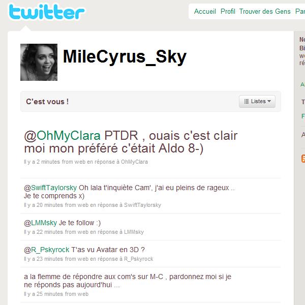 .  Mile-Cyrus.skyrock rejoint Twitter , unique moyen d'être prévenus : FOLLOW le blog ! .