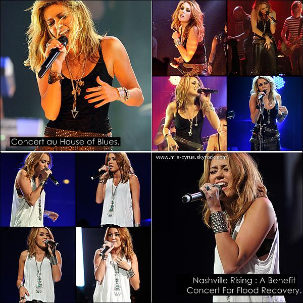 .  Lundi 21/06 : Miley a donné concert au House of Blues de Los A. avec 6 titres de son album. Performances : My Heart Beats For Love - Robot - Every Rose Has Its Thorn - Liberty Walk - Who Owns My Heart - Can't Be Tamed.  Après ce concert réussis, Miley quitte le House of Blues très tard à Los Angeles. Photos. Backstages en vidéo de Miley et ses danseurs après le concert. Vidéo. .  Mardi 22/06 : Miley était au « Nashville Rising: A Benefit Concert For Flood Recovery ». Le but de ce concert est de récolter des fonds pour la reconstruction de la ville après des inondations destructrices, qui avait lieu au Bridgestone Arena de Nashville. Backstages du concert où l'on peut apercevoir Miley et Taylor Swift. .