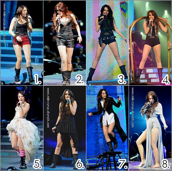 . Quelle tenue de scène portée par Miley lors du  « Wonder World Tour 2009 » préférez-vous ?  .