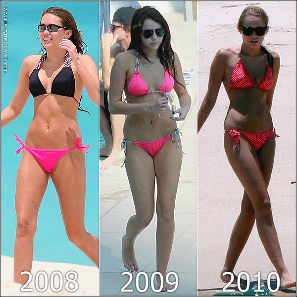 . Parmis ces trois années consécutives,  quel maillot de bain porté par Miley préférez-vous ? .