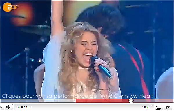 .  .   ________  Miley Cyrus en Allemagne!  .   PROMOTION POUR LE SINGLE DE « WHO OWNS MY HEART » À HANNOVER.  Miley était invitée dans l'émission « Wetten, dass? » avec des stars allemandes comme Lena, gagnante de l'eurovision.  .  .