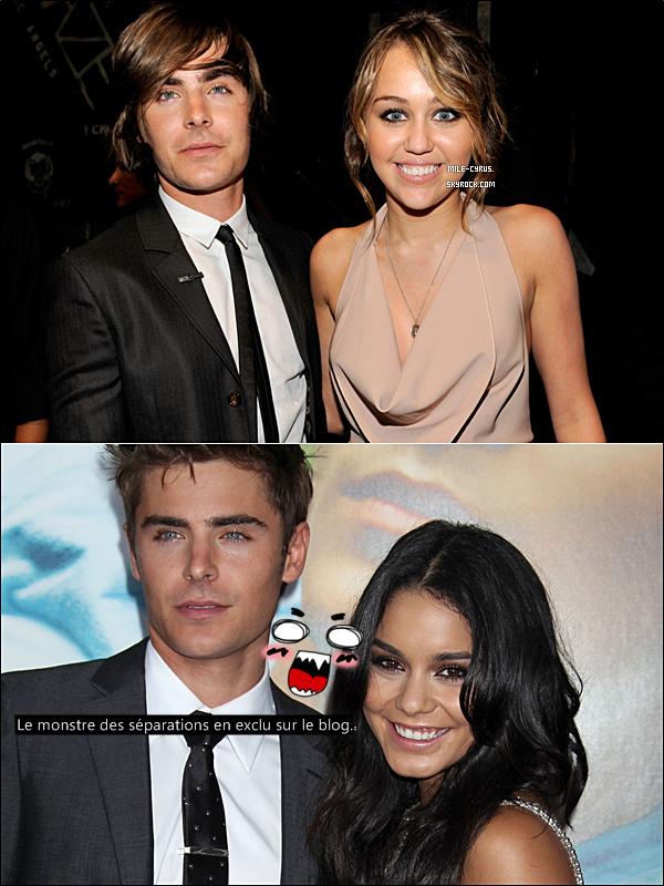 """. . Miley Cyrus briseuse du couple si uni Zanessa? Elle court la rumeur.. . Et encore une rumeur, une! On n'arrête plus, depuis un moment j'ai l'impression de ne poster que des rumeurs (et ce n'est pas pour me déplaire). Lors d'une interview il y a quelques temps, l'ancienne jeune pouliche rebelle de Disney aurait fait de l'éloge au beau et ténébreux Zac Efron en citant « Il est trop mignon, trop sexy ! Je ne vais pas voir ses films parce que je trouve que c'est un merveilleux acteur, mais juste parce qu'il est sexy ! Zac a une place spéciale dans mon c½ur, et si je n'étais pas amie avec lui et que ce n'était pas bizarre, j'aurais des posters de lui dans ma chambre ! » Bah dis donc elle n'a pas la langue dans sa poche cette Miley! Mais qu'aurait répondu Zac? « Je ne sais pas trop quoi répondre. Je connais Miley depuis qu'elle est une petite fille. Ce qu'elle a réussi à faire est incroyable. Elle s'est transformée en une magnifique jeune femme, et elle conquiert le monde telle une tempête. Je suis tellement fier d'elle ! » Quel gentelman ce Zac, inutile de préciser qu'il était à ce moment-là avec la magnifique Vanessa Hudgens? Miley se serait-elle permis de le complimenter et même plus alors qu'il était en couple avec Vanessa?  . Oui, vous n'allez peut-être pas le croire mais l'actuelle rumeur qui rôde au-dessus de notre star est qu'elle aurait été l'auteur de la rupture du couple Zanessa! C'est ZackTaylor qui l'affirme, le blogueur justement connu pour dire des bêtises.. En effet, une source anonyme aurait confié au blogueur canadien ZackTaylor que Zac avait été infidèle : """"Zac Efron et Miley Cyrus ont échangé des sms au contenu torride, découverts par Vanessa Hudgens"""". Cette affaire ressemblerait drôlement à la rupture de Tony Parker et Eva Longoria? D'ailleurs Miley serait allé à un match de foot en compagnie de Zac le 12 décembre dernier à Nouvelle-Orléans. Et toi tu en penses quoi de ce 'petit incident de parcours' ? . Et si finalement le monstre des séparations"""