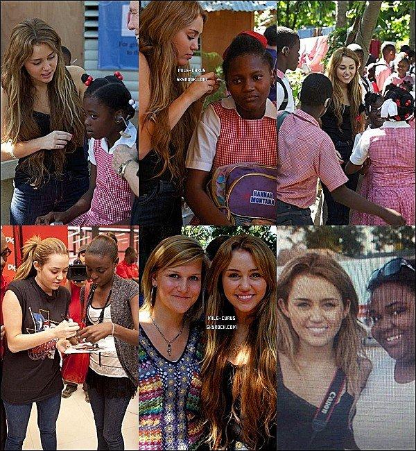 .  .   Miley a réalisé un voyage humanitaire à Haïti en bonne citoyenne!  .   L'année passée, alors que le blog commençait une rumeur annonçait que Miley ferait un soi-disant voyage en Indonésie (article). Finalement c'est le 23 février que Miley était en direction de son premier voyage humanitaire, pas en Indonésie mais bien à Haïti, dirigé par la Starkey Hearing Foundation. Elle n'était pas la seule célébrité, elle était accompagnée par Sean Penn dans le but de venir en aide à plus de 200 enfants sur place et pour « essayer de changer le monde ». Miley serait resté seulement deux jours et serait revenue le 25 février. Une belle leçon d'humanité que même Perez Hilton (le célèbre bloggeur) a salué en citant  « Heureux que tu fasses quelque choses de positif et généreux ». La chanson ''Everbody Hurts'' a été créer pour aider Haïti (la chanson n'est pas disponible)._______ Que penses-tu de cet acte humanitaire?     .  .