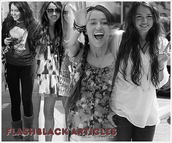 .    .   Le blog devient pour un tout petit temps un blog-source «  FlashBack »! .  Le blog se rénove une énième mais cette fois c'est différent : voila, comme je trouvais qu'il y avais beaucoup de bons blogs qui vous poste l'actualité de Miley Cyrus actuelle et comme j'ai toujours aimé aller fouiller dans les anciens blogs les anciennes news de la miss, j'ai décidé moi-même de poster toutes les news avant le début de mon blog. Donc vous pourrez remonter le temps pour revenir à la bonne Miley de Disney qui ne faisait QUE quelques gaffes : aah, le bon temps me direz-vous! Mais une question vous turlute n'est-ce pas? Comment savoir l'actualité actuelle de la star? Eh bien, je n'ai pas encore trouvé la réponse mais j'y arrive. En bref : pour un petit temps le blog ne postera chaque jour que des candids, apparences, potins de 2008-2009. J'aimerais vraiment avoir vos avis, si j'ai décidé de faire ça c'est pour ne pas être lasser de mon blog, car les news de maintenant me lasse très vite. Et surtout pour être un blog qui n'est pas le même par rapport aux autres... Vos avis?  .  Alors près pour le voyage dans le temps avec Mile-Cyrus?  .  .