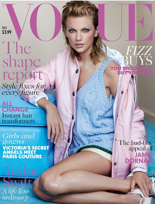 Taylor en couverture de Vogue UK